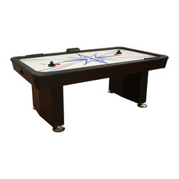 American Heritage Billiards - Maritz Air-Hockey Table - Get a breath of fresh air from this stylish hockey table. Featuring a powerful single blower, the air-powered machine is the fast track to fun. Electronic and manual scorers and a screen-printed surface add to its contemporary appeal.