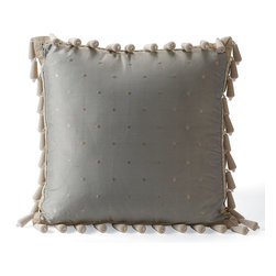 "Frontgate - Bead Trim Decorative Pillow - From Eastern Accents. Dry clean only recommended. Bead Trim Decorative Pillow (78643): 18"" sq.. Because this bedding is specially made to order, please allow 4-6 weeks for delivery.. Our beautiful Carlyle Bedding Collection incorporates a muted color palette of blues and ivory in a formal large frame pattern. Clean and elegant, its traditional style is softened by delicate fringe trimming.  .  .  . . Made in USA of imported goods. Part of the Carlyle Bedding Collection."