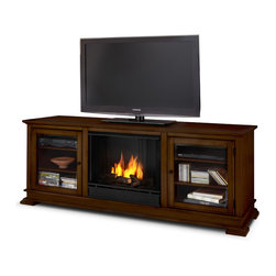 "Real Flame - Hudson Ventless Gel Fireplace in Espresso - Fits up to a 50"" (diagonal) TV, 100 lb. weight limit"