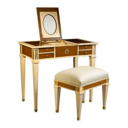 French Heritage - Aubin Vanity and Stool, Light Cherry &Amp;amp; Ivory - Pretty without being frilly, this vanity boasts a fold-up mirror and generous storage, all smoothly concealed behind richly finished hardware.  -Flip up mirror -Two drawers -Two flip up storage compartments -Weight: 110lbs