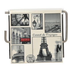 Photoprint MDF Toilet Tissue Dispenser Paris Retro Grey - This photoprint toilet tissue dispenser Paris Retro for bathrooms is in medium-density fiberboard (MDF) and metal with Paris city patterns. Can be easily fixed to the wall with the mounting hardware included (2 screws). Length 5.31-Inch, height 4.5-Inch and depth 1-Inch. Wipe clean with a damp cloth. Color grey. An attractive way to dispense toilet tissue and to add an elegant design to your bathroom! Complete your decoration with other products of the same collection. Imported.