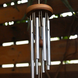 Fairy Wind Chime in Chimes & Mobiles - The cherry wood hanging apparatus on this wind chime is great looking with the aluminum. Feels like something old and something new. I love the sound of chimes in the wind on a summer day.