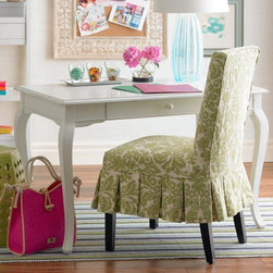 Parsons Chair - This classic Parsons chair decided to add a skirt to her outfit today. Available in several different fabrics, it's a refreshing change from stark dining chairs or ugly plastic desk chairs.