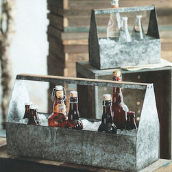 Outdoor Galvanized Thirst Ice Caddies (Set of Two) - Cool galvanized iron sheet with an antique finish and wood accents shape these pieces. Use the thirst Ice Caddies as tabletop party buckets or utensil holders.