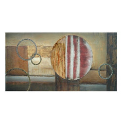Crestview Collection - Crestview Collection Circles in Motion II Abstract Wall Art / Wall Decor X-9501P - This Crestview Collection wall art features classic abstract detailing and neutral earth tones that give it versatility and appeal. From the Circles in Motion Collection, this abstract wall decor incorporates muted shades of red paired with glitter-like ring accents and neutral shades of beige, tan and caramel.