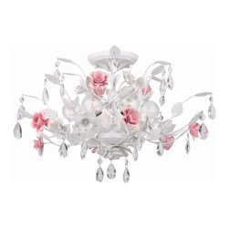 Crystorama - Lola Antique White with Pink Accents Semi-Flush Mount - Lola Antique White with Pink Accents Semi-Flush Mount