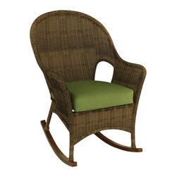Forever Patio - Rockport Outdoor Wicker Rocker, Canvas Parrot Cushions - Find the time to unwind with the timeless look and comfort of the Rockport High Back Rocker (SKU FP-ROC-R-CN-CP). Its UV-protected Chestnut wicker and round-weave design creates a warm, traditional look that is made to last. This rocker includes a fade- and mildew-resistant Sunbrella cushion; the industry's best outdoor fabric.