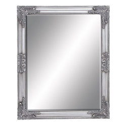 Benzara - Framed Beveled Mirror with a Rich Silver Finish - Exemplifying elegance and finesse, this Framed Beveled Mirror is crafted with great care to ensure durability.. A wonderful decor accent, this mirror can be incorporated in any modern or transitional home setup. Beveled accents augment the visual appeal of the frame and complement the intricate moldings for a classic appeal. The mirror frame features charming floral and leaf motifs in a classic baroque style design for that stunning, opulent look. Decorated with a rich silver finish and a stunning distressed texture, this mirror exemplifies opulence and grandiose to enhance decor aesthetics. The wood used to make the mirror frame is of premium quality and makes the design light in weight for hassle free installation. This mirror is a beautiful present for your beloved on wedding anniversary.