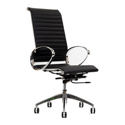 East End Imports - Eames Style Ribbed High Back Chair In Genuine Leather with Round Arms - Regarded as one of the most iconic designer office chairs of the modern classics, this piece adds weight and poise to your office. With superior comfort as well as style, this Charles Eames Style chair is worthy of its fame and perfect for the discerning business.