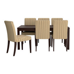Tord Björklund/IKEA of Sweden - BJURSTA/HENRIKSDAL Table and 6 chairs - Table and 6 chairs, brown-black, Linghem light brown