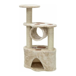 "Majestic Pet Products - 37"" Casita - Fur - Majestic Pet Products 37"" Casita Cat Tree is covered in honey colored Faux Fur with Sisal Rope wrapped posts, that will withstand the toughest claws. This beautiful playground features a soft-sided first floor hideaway with paw-print platforms above, a hanging tube, and an upper perch for your kitty to relax on. Our"" Casita Cat Tree assembles in minutes with simple step by step instructions and tools provided."