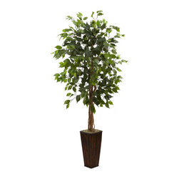 Nearly Natural - 5.5' Ficus Tree with Bamboo Planter - Standing tall and awaiting a warm summer breeze, this stately Ficus tree is ready to enhance your home or office decor. Looking great in an entryway, a corner, next to a desk, or anywhere else, this tall specimen will stay fresh-looking for years, with nary a drop of water. Comes complete with a decorative planter that enhances the look. Buy one for yourself, and one as a gift for that hard to please person.