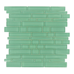 Glass Tile Oasis - Oceanic Random Bricks Aqua Cane Solids Glossy Glass - Shower your kitchen or bathroom in deep, cool color with these ocean blue tiles. The mix of sizes create a dynamic vision for a backsplash or shower stall.
