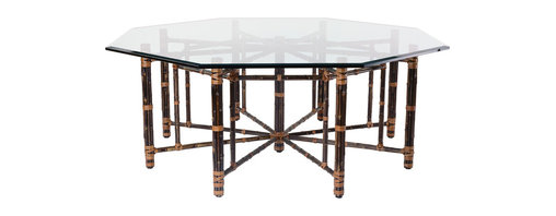 McGuire Furniture - Octagonal Dining Table in Black Bamboo: BA-1 - This grand Octagonal Dining Table, designed by John McGuire, features bamboo poles lashed in place with McGuire's signature rawhide laces. The design has a center support of bundled bamboo. Horizontal bamboo members radiate from this center support and join eight inner supports and outer bamboo legs to create its beautiful, geometric form. The table comfortably seats eight. Pricing is for base only. Shown with optional glass top.