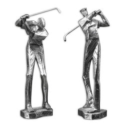 Uttermost - Practice Shot Metallic Statues, Set of 2 - For the golfers in your life, show them what a follow-through looks like with this set of metallic silver statues. Head down, eye on the ball, etc. It's par for the course.