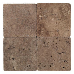 Mocha Tumbled Stone - Tumbled Stone bring the character of timeworn natural stone into your home. A tumbling process is used to soften the edges of these luxurious natural stone tiles, giving them an Old World flavor reminiscent of fine european homes from centuries past. Available in a broad range of sizes, including one-foot squares consisting of pre-mounted mosaic-sized pieces, Tumbled Stone can be used for everything from walls and floors to countertops and fireplace surrounds. Beautiful accent borders in multiple colors complement its natural warmth and inherent elegance.