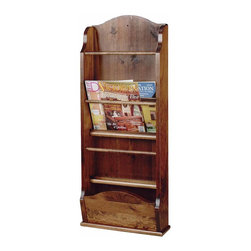 The Renovators Supply - Magazine Racks Antique Pine Wall Magazine Rack 40'' H | 102912 - Magazines stack neatly in the four pockets of this wall rack. This magazine rack is 40 in. high x 16 1/2 in. wide x 6 1/2 in. deep. It is made of pine with a birch plywood back. Finished in Antique- pine stain refer to color sample below.