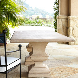 """Horchow - Alexandra Outdoor Double-Urn Pedestal Table - Alexandra Outdoor Double-Urn Pedestal TableDetailsEXCLUSIVELY OURS.Outdoor dining table hand cast of crushed stone/polyester resin/styrene/fiberglass.Hand-painted lacquer finish.86""""W x 46""""D x 29.25""""T. Imported.Boxed weight approximately 134.2 lbs. Please note that this item may require additional shipping charges.Why we choose manmade materials.Today's composite casting materials offer an unparalleled value for outdoor decorating:Great looks. They can be textured and finished to perfectly replicate a variety of natural materials at a significantly lower price.Mobility. Substantial enough to stand up to wind and weather yet at approximately one-fourth the weight of cement or stone they can be easily relocated for changes in landscape or design preference.Easy care. Not susceptible to mold mildew or other problems common to natural materials."""