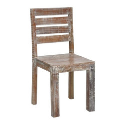 Hampton Teak Dining Chair - From humble beginnings come fantastic ends. Our Hampton Teak Dining Chair is made from 100 year-old wood planks that has been reclaimed from old buildings with a Lime wash finish. This collection seamlessly combines the warmth and character of beautifully aged woods to the refreshing lines of current style. A protective finish of a dull water based lacquer retains the natural beauty of the aged wood. While the rustic style of each chair remains the same, the old wood gives every reclaimed wood chair its own unique characteristics.
