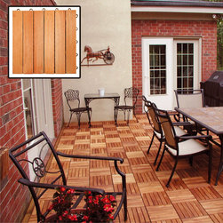 "Vifah - Interlocking Deck Tile - 6 Slats - Design: The 6 slat design is one of the classic designs in our collection. In this design, there are 6 vertical wood slats pre-screwed into the interlocking plastic base. This design provides a classic, elegant look for any outdoor decking projects from small to large. Material: Our eucalyptus wood products are made of solid Eucalyptus Grandis hardwood, grown in 100 % well managed forests in Brazil, certified by the FSC (Forest Stewardship Council). Eucalyptus Grandis, entirely different from the eucalyptus tree in the U.S., is as strong and as durable as the well-known Teak. On average, it is even from 10 to 20 percent more dense than Teak. With its density, straight grain, smooth finish, and honey color with subtle rose highlights, Eucalyptus Grandis is a first-rate choice for outdoor wood products. Quickly build any unique outdoor living space by simply snapping the deck tiles together without using nails, glue, or a hammer. Snapping deck tiles (sometimes referred to as interlocking deck tile) is a do-it-yourself product designed for the average homeowner. It quickly makes a solid hardwood floor on the patio, balcony, next to a pool or spa, or kitchen and bathroom areas in a couple of hours. No hassles of building a deck the conventional way. Most importantly, it is economically reusable - just simply snap and unsnap the deck tiles on one floor and re-snap them on another floor! You can build your floor within a matter of hours - not days - and enjoy it immediately. No glue, no screws, or hammers are needed! Features: Pattern: six horizontal slats per tile. Box of 10 tiles. Covers 10 sqft. Outdoor covering for patios, decks, balconies, porches, walkways, surrounding pools and hot tubs. Indoor covering for garage floors, basement floors, and bathroom floors. Pre-treated, expertly kiln-dried, extremely durable FSC Eucalyptus. Mold, mildew, fungi, termites, rot and decay resistant Backed with unique plastic interlocking grid for easy installation. Fast snap-together installation with no nails, staples or glue. Easy to remove, re-arrange and re-lay tiles. Interchangeable styles to create patterns. Wood slats permit water to flow through. Plastic feet elevate for drying airflow. Environmentally friendly non-endangered FSC Eucalyptus from controlled forests. Dimensions: Length: 12""; Width: 12""; Height: 1"""