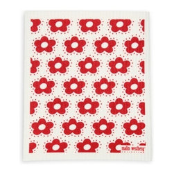 Swedish Dishcloth Fiddeli Flowers, Red - THE SWEDISH ECO-FRIENDLY DISHCLOTH: The dry sponge cloth was invented in 1949 by the Swedish engineer Curt Lindquist, who discovered that a mixture of natural cellulose (wood pulp) and cotton can absorb an incredible 15 times its own weight in water.