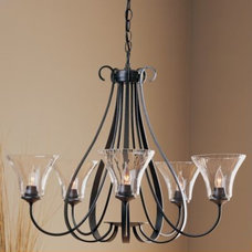 Candles And Candle Holders Sweeping Taper Five Arms Chandelier With Water Glass by Hubbardton Forge