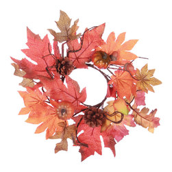 "Oddity - Oddity Christmas Party Decoration 4"" Fall Pumpkin Maple Leaf Candle Ring - The colors of fall have come together in this maple leaf collection accented with pine cones and pumpkins."