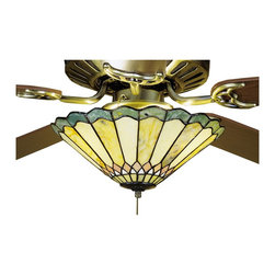 Meyda Tiffany - Meyda Tiffany Jade Carousel Tiffany Ceiling Fan Light Kit X-94472 - Thinly carved and polished natural Jadestone in earthy tones of Moss Green, Tan, and Coral, become luminescent in this charming scalloped edged shade. The stone shade is crafted with the same copperfoil process that is used on stained glass, Tiffany style shades