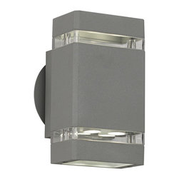"Possini Euro Design - Matte Silver Gray 8"" High LED Up/Down Outdoor Wall Light - When it comes to beautifying your home your outside space can feel neglected. After all you do spend most of your time with your interior furnishings right? Rectify that situation by installing this sleek contemporary outdoor wall light. It enhances your home's exterior with a lovely matte silver-gray finish clear glass and energy-efficient LED lighting in both up and down directions. From the Possini Euro Design outdoor lighting collection. Matte silver-gray finish. Clear glass. Includes eight 1 watt LEDs. Light output 455 lumens (compare to 40 watt incandescent bulb). Warm white 2900-3100K color temperature. LEDs from Cree Lighting. Not dimmable. 8"" high. 4 1/4"" wide. Extends 4"" from wall.  Matte silver-gray finish.   Clear glass.   Includes eight 1 watt LEDs.   Light output 455 lumens (compare to 40 watt incandescent bulb).   Warm white 2900-3100K color temperature.   LEDs from Cree Lighting.  Not dimmable.  8"" high.   4 1/4"" wide.   Extends 4"" from wall."