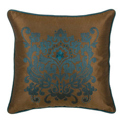 Rizzy Rugs - Rizzy Home Peacock Blue 18 Inch x 18 Inch Pillow Cover with Hidden Zipper - - Pillow Cover with Hidden Zipper  - Poly Slub Fabric  - Embroidered Details  - Primary Color - Peacock Blue  - Secondary Color - Brown  -  Hand Wash in Cold Water. Lay Flat to Dry. Rizzy Rugs - T03894