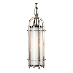 "Hudson Valley Lighting - Hudson Valley Lighting | Portland Pendant Light - By Hudson Valley Lighting.The Portland Collection is inspired by the classic coach lamp. An opal glass shade evenly diffuses glowing white light from within the fixtures' clean-lined, cylindrical cages. Hook-and-eye hangers provide the authentic details that add a hint of rustic charm to a style that carries contemporary allure. The Portland Pendant Light is available in historic nickel, historic bronze or polished nickel finishes in 16 or 19 inch sizes. Ships with 72"" of chain.UL Listed."