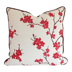 The Pillow Studio - designer Pillow Cover with Piping, Embroidered Red and Pink Cherry Blossoms - I LOVE this pillow! It is both dramatic and delicate and the chocolate brown piping adds a custom touch.