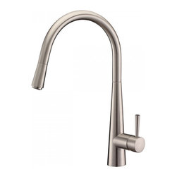 Ruvati - Ruvati RVF1221BN Single Handle Pull-Down Kitchen Faucet - Stainless Steel - This premium Ruvati kitchen faucet from the Cascada collection is constructed of solid brass giving it exceptional durability. The ceramic disc cartridge ensures drip-free functionality. The faucet can be installed into countertops up to two inches thick. Hot and cold water connection hoses are included.