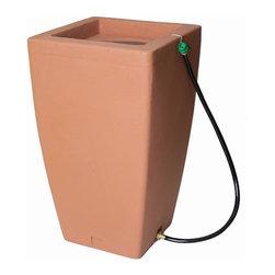 None - Algreen Rain Barrel-Terra Cotta - Algreen 84002 Madison 49 Gallon Fountain and Rain Barrel-Terra Cotta