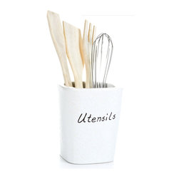 """Concepts Life - Concepts Life Kitchen Utensils with Caddy  Subtle Scripts - Our white stonewear utensil caddy is the perfect addition to your contemporary kitchen. Keep your utensils handy and organized in this crispt white container with an elegant script label.  Utensil holder is crafted from 100% high-quality stoneware. Baked and glazed at high temperatures for extra durability. Utensils are made from natural, unvarnished wood. Utensil holder is dishwasher safe. Dimensions: 4""""w x 5""""h x 4""""d. Weight: 1.5 lbs."""