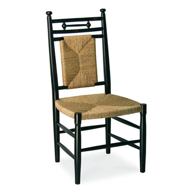 Abigail Dining Side Chair - Cottage House Collection - Abigail Dining Side Chair features a rush woven seat and back that lends rustic charm to its classic turned frame. This cottage chic seat lends comfort and character to the living room, dining room or den. This wood furnishing is shown in Black. Our Cottage House Collection is a wonderful blend of antique cottage style furniture that beautifully interpret reproductions through a labour of passion and quality. Using a multi-layered hand lacquering and antiquing process, these heirloom quality furniture pieces are designed to last generations. Hand applied distress markings artistically mimic normal wear closely representing the original antique piece. The ideal solution to bring an eclectic, old world feeling into today's modern decor!