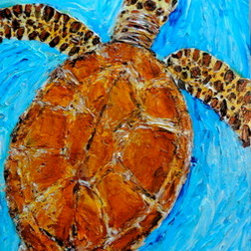 Turtle Swim (Original) by Lisa P. Young - This sea turtle is painted in the thick impasto style using thick heavy body paints and aggressive pallet knife work leaving visible stroke marks and to give a 3 dimensional feel. Touching the shell of the turtle gives the feeling of touching a real sea turtle.