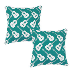 RoomCraft - Turquoise Guitars Throw Pillow Covers 16x16 Instrument Shams - FEATURES: