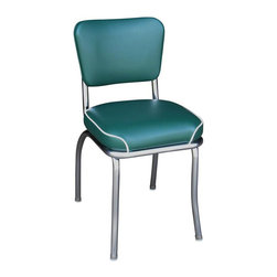 Richardson Seating - Richardson Seating Retro 1950s Chrome Waterfall Seat Diner Side Chair in Green - Richardson Seating - Dining Chairs - 4210GRNWF - The 50's nostalgic retro look is back. Richardson Seating offers a wide range of retro style diner chairs featuring unique and charming vinyl colors and design patterns. Features durable heavy commercial grade 14 gauge fully welded steel frame in chrome finish. Also equally ideal for residential use.