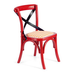 None - Baby Larkin Red Chair (set of 2) - Add a bold pop of color to your home decor with this distinct chair. Finished in a bright red,this quirky chair features a black crossed back as well as a straw and white checked seat,making it a truly unique piece.