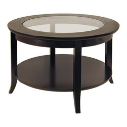 Winsome Wood - Winsome Wood Genoa Coffee Table w/ Glass Inset & Shelf in Dark Espresso - Coffee Table w/ Glass Inset & Shelf in Dark Espresso belongs to Genoa Collection by Winsome Wood Elegantly design with glass top, this coffee table. Its flared leg, shelf blends well with any style of room decor. Or match with same collection round side table# 92318 & end table# 92218 Coffee Table (1)