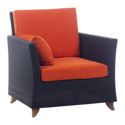 All Things Cedar - Rattan ARM CHAIR with orange cushion - Includes 2pc. Orange Cushion with matching throw pillow. Item is made to order.