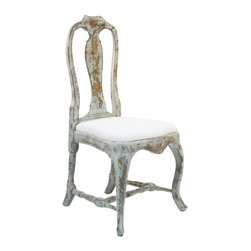 Kathy Kuo Home - French Country Provence Style Dining Chair - Queen Anne meets French Country in the design of this vintage, shabby chic chair. The dark, distressed birch frame is embellished with elaborate carving on the seat, back and legs giving the piece a romantic and rustic feel. Not out of place in a bedroom or dining room, this is a versatile piece for anyone looking for femininity and romance.