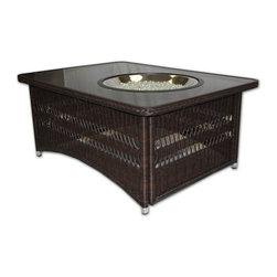 Outdoor Greatroom - Naples Chat Height Fire Pit Coffee Table - A beautiful table to sit around with your family and friends, the Naples rectangular outdoor gas fire pit table is both versatile and stylish. The NAPLES-CT-B-K features an outdoor rated resin wicker base with an aluminum frame, that will not rust or corrode; and a tempered 48x36 inch rectangular black glass top. This fire pit table comes with a black glass cover for the round 20 inch stainless steel Crystal Fire Burner. This 60,000 BTU burner is made from high quality stainless steel and includes tempered, tumbled Diamond colored glass, an LP hose and regulator, a metal flex hose, a gas valve, and a push button igniter - also includes a conversion kit for natural gas. With just a push of a button, a beautiful clean-burning fire appears atop a bed of highly reflective glass fire gems - adjust the flame height to your desired setting and enjoy the magic and ambience of a warm glowing fire. This fire pit table is UL listed to guarantee safety and quality. 1 Year Warranty. Optional accessories include: Vinyl Cover (CVRCF48); Square / Round Glass Guard (GLASS-GUARD-20; GLASS-GUARD-20-R); Log Set (CF20-LOG-SET); Lazy Susan Ring (LAZY-SUSAN-RING); Ice Bowl (CFP42-K5).