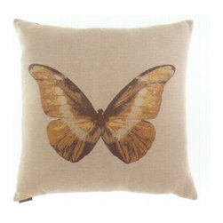 "Canaan - 24"" x 24"" Monarch Butterfly Print Fabric Throw Pillow - 24"" x 24"" Monarch butterfly print fabric throw pillow with a feather/down insert and zippered removable cover. These pillows feature a zippered removable 24"" x 24"" cover with a feather/down insert. Measures 24"" x 24"". These are custom made in the U.S.A and take 4-6 weeks lead time for production."