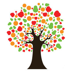 Modern Fruit Tree Wall Decal - Ideal for homes, kids rooms, and schools.
