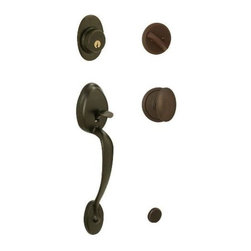 """Schlage - Plymouth Handleset w Siena Interior Knob in O - Manufacturer SKU: F60 PLY 613 SIE. Handle Type: Handleset. Handleset features a high security deadbolt, keyed on one side and a decorative lower grip to create a grand entrance for your home. Patented adjustable through-bolt allows easy installation, retrofits existing doors. Universal knob works for right or left handed doors. Lifetime Limited Mechanical & Finish Warranty. Coordinate with other Flair Antique Brass products. Maximum security deadbolt offers superior protection against attacks by crowbar, hammer, wrench, saw, lock pick, and kick-in. Designed for standard door prep (fits existing pre-drilled holes). Unviersal latch adjusts to fit 2-3/8"""" or 2-3/4"""". Fits 1-3/8"""" to 1-3/4"""" wood or metal doors. 2.3 in in. L x 3 in in. W x 12.4 in in. H (6.4 lb lbs)"""
