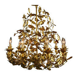EuroLux Home - Large Italian Chandelier with Golden Leaves - Product Details