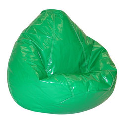 """Elite Products - Wetlook Large Bean Bag - The Kid's Large Wet-Look Beanbag comes in your choice of 10 vibrant shades and features an attractive """"wet look"""" PVC vinyl cover.  This comfortable and durable child-safe bean bag is double stitched with a double zipped bottom for added security. Long lasting and durable. Double stitched with double overlap folded seam. Double zippered bottom for added security. Childproof safety lock zippers (pulls have been removed). Light, convenient to move and store. Easy to clean. Recommended seating age: 4 to 10 years. Warranty: One year limited. Made from PVC vinyl and polystyrene bead. Made in USA. No assembly required. 32 in. L x 30 in. W x 25 in. H (6 lbs.)"""