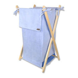 "Trend Lab - Hamper Set - Blue Ultrasuede - Trend Lab's Blue Ultrasuede Hamper is a decorative solution for quick clean up in your nursery, bathroom or laundry room. The blue ultrasuede body and outer flap easily attaches to the collapsible pine wood frame. Machine washable inner mesh liner is removable making the transport of laundry effortless. Assembled hamper measures 27"" x 15"" x 15""."